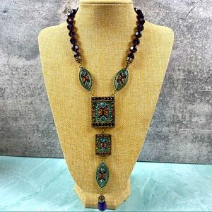 Heidi Daus Art Deco purple & teal drop necklace